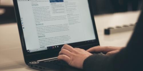 Eine Person sitzt am Laptop und schreibt einen Blogeintrag
